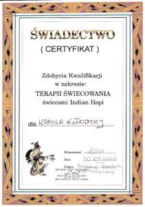 Certyfikat zdobycia kwalifikacji w zakresie terapii świecowania świecami Indian Hopi 2002 (Akupunktura Wrocław ul. Krucza 122/3; Akupunktura Kamienna Góra ul. Boh. Getta 30/4 ; Tel. 691654201)