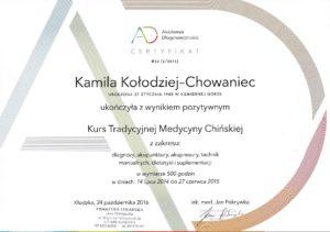 Certyfikat ukończenia kursu Tradycyjnej Medycyny Chińskiej w Kłodzku 2014-2015 (Akupunktura Wrocław ul. Krucza 122/3; Akupunktura Kamienna Góra ul. Boh. Getta 30/4 ; Tel. 691654201)