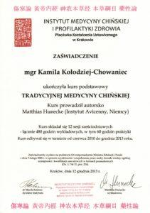 Zaświadczenie ukończenia kursu Tradycyjnej Medycyny Chińskiej w Krakowie 2010-2013 (Akupunktura Wrocław ul. Krucza 122/3; Akupunktura Kamienna Góra ul. Boh. Getta 30/4 ; Tel. 691654201)
