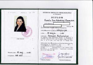 Dyplom ukończenia Studium Edukacji Ekologicznej we Wrocławiu 2007-2010 (Akupunktura Wrocław ul. Krucza 122/3 ; Akupunktura Kamienna Góra ul. Boh. Getta 30/4 ; Tel. 691654201)
